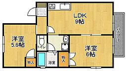 兵庫県宝塚市中筋4丁目の賃貸アパートの間取り