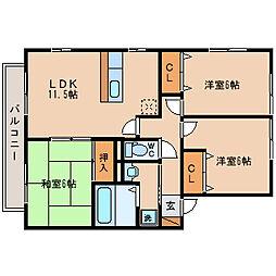 レシェンテ茨木E棟[2階]の間取り