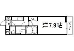 フレッシュリーIII 2階1Kの間取り
