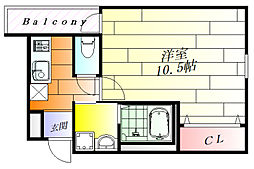 フジパレス武庫川III番館 1階1Kの間取り