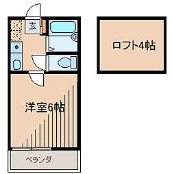東京都町田市木曽東3の賃貸アパートの間取り