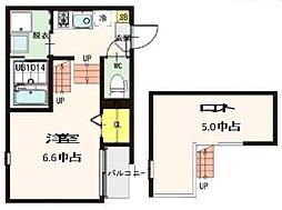 ドルチェ栄 2階1Kの間取り