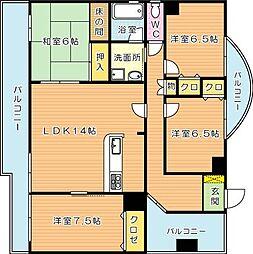 福岡県北九州市八幡西区八千代町の賃貸マンションの間取り