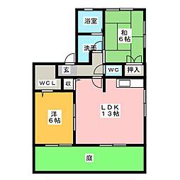 ハイカムール岡[1階]の間取り