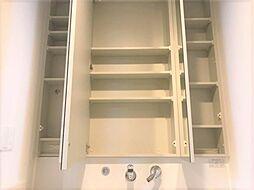 洗面台収納。日ごろ使うワックスなどもここに収納できますね。