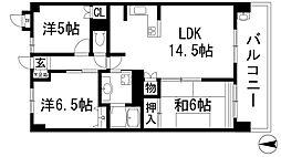 兵庫県宝塚市弥生町の賃貸マンションの間取り