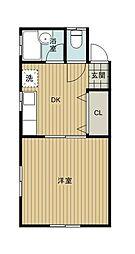 サンコーポヤマブン[206号室]の間取り