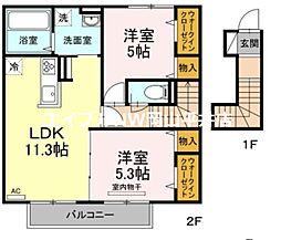 JR山陽本線 東岡山駅 徒歩15分の賃貸アパート 2階2LDKの間取り