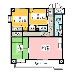 ダイアパレス津新町704号室[7階]の間取り