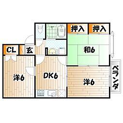 メンバーズタウン苅田 A棟[2階]の間取り