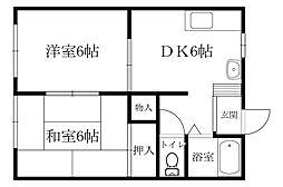 廣井アパート 2階2DKの間取り