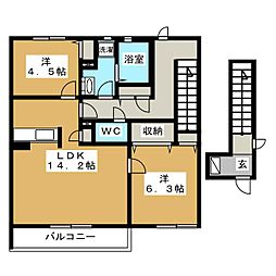 ドルチェ三園平B[2階]の間取り