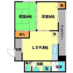 東豊中マンション[2階]の間取り