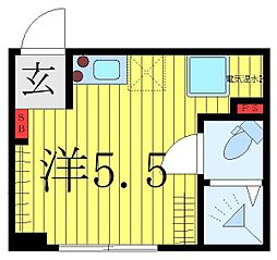 西武池袋線 椎名町駅 徒歩1分の賃貸マンション 4階ワンルームの間取り