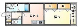 サニーハイツ 2階1DKの間取り