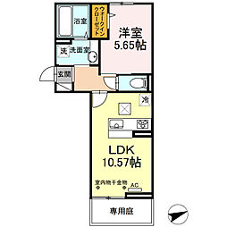 JR鹿児島本線 久留米駅 徒歩18分の賃貸アパート 1階1LDKの間取り