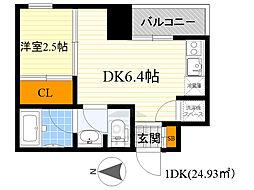 レギャン002 3階1DKの間取り