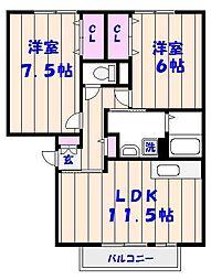 パークサイド西船A[2階]の間取り