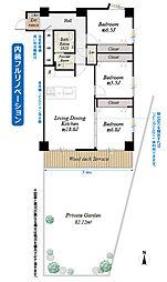 間取り(間取図/1階部分南東角部屋 内装フルリノベーションにより3LDKに変更 南向の広い専用庭付)