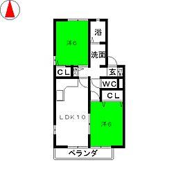 ウィルモア星宮A棟[2階]の間取り