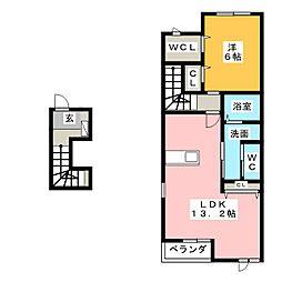 クラージュC[2階]の間取り