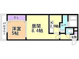 札幌市営東西線 発寒南駅 徒歩8分の賃貸マンション 3階1LDKの間取り
