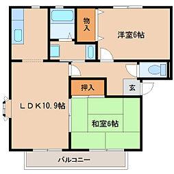 兵庫県尼崎市額田町の賃貸アパートの間取り
