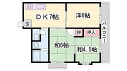上祇園ハイツ[201号室]の間取り