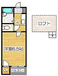 ビッグフィールド アルファ[2階]の間取り