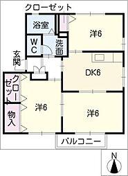 スクエアヴィレッジF 1階3DKの間取り