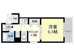 エステムコート新大阪 2階1DKの間取り