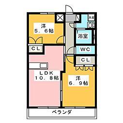 静岡県静岡市駿河区寿町の賃貸アパートの間取り