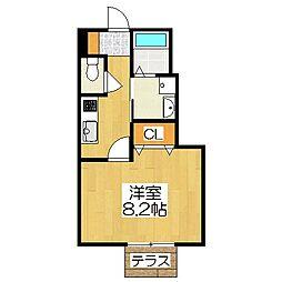 京都府京都市北区上賀茂山本町の賃貸アパートの間取り