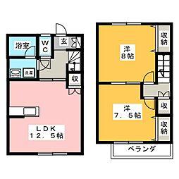 [テラスハウス] 岐阜県岐阜市北一色6丁目 の賃貸【/】の間取り