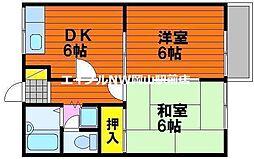 岡山県岡山市中区中井3の賃貸アパートの間取り