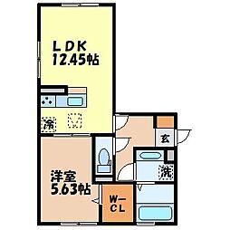 ラフィット 1階1LDKの間取り