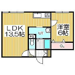 北海道苫小牧市新中野町3丁目の賃貸アパートの間取り