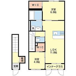 東沼波新築アパート[202号室]の間取り