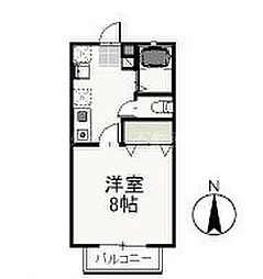 岡山県岡山市北区野田2丁目の賃貸アパートの間取り