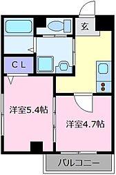 近鉄南大阪線 布忍駅 徒歩2分の賃貸マンション 2階2Kの間取り