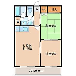 赤石マンション 4階2LDKの間取り