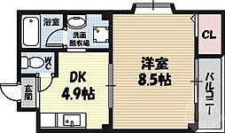 カサ・デ・コモド 4階1DKの間取り