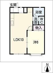 光ハイツA棟[1階]の間取り