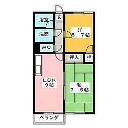 グローリィ桜ヶ丘N棟[1階]の間取り