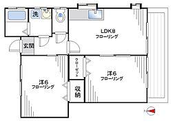 ハイツKA柳沢[102号室]の間取り