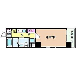 JR東海道・山陽本線 灘駅 徒歩3分の賃貸マンション 8階1Kの間取り