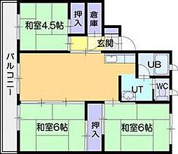 ビレッジハウス江別2号棟[1階]の間取り