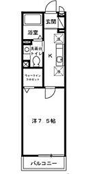 JR南武線 矢川駅 徒歩4分の賃貸アパート 2階1Kの間取り
