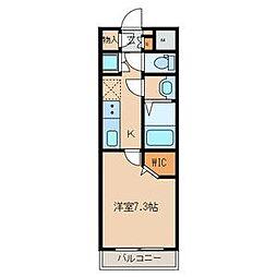 名古屋市営桜通線 中村区役所駅 徒歩4分の賃貸マンション 2階1Kの間取り