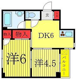 JR埼京線 板橋駅 徒歩3分の賃貸マンション 5階2DKの間取り